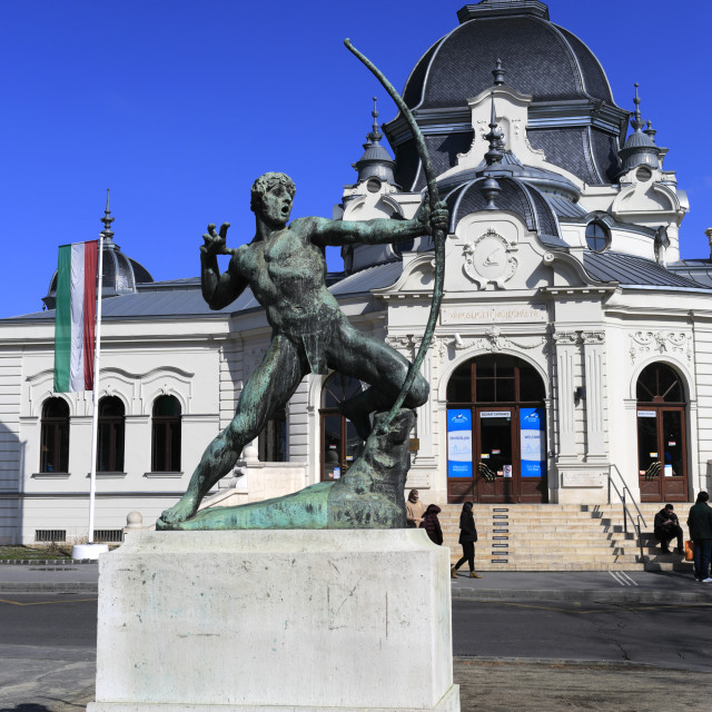 """Statue outside the Ice Rink building in the City Park, Budapest, Hungary"" stock image"