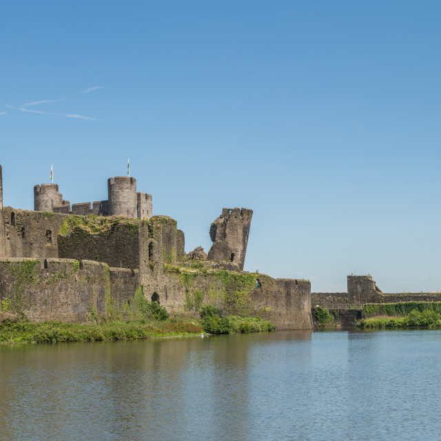 """Caerphilly Castle Panorama South View"" stock image"