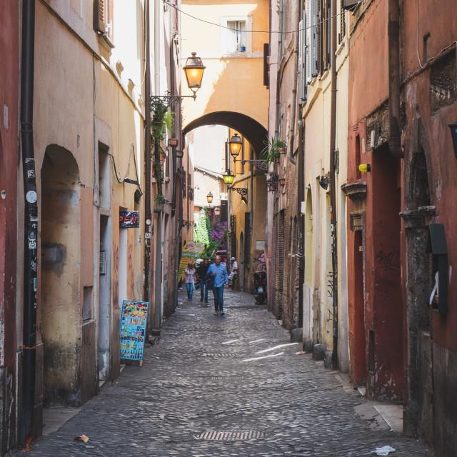 """Backsteet in Rome"" stock image"