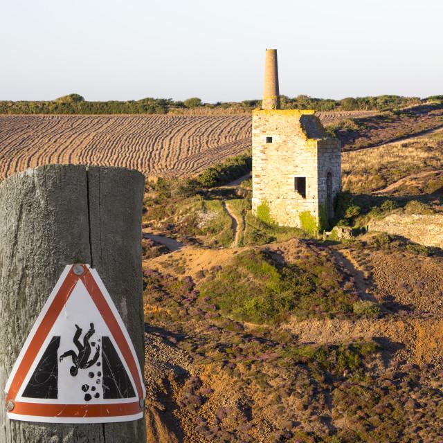"""An abandoned tin mine in Porthtowan on the North Cornish coast, UK."" stock image"
