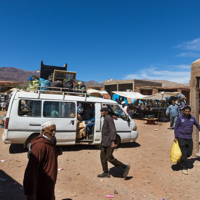 """Telouet, Morocco - April 14, 2016: People in a street market in the village of Telouet in the High Atlas Region of Morocco"" stock image"