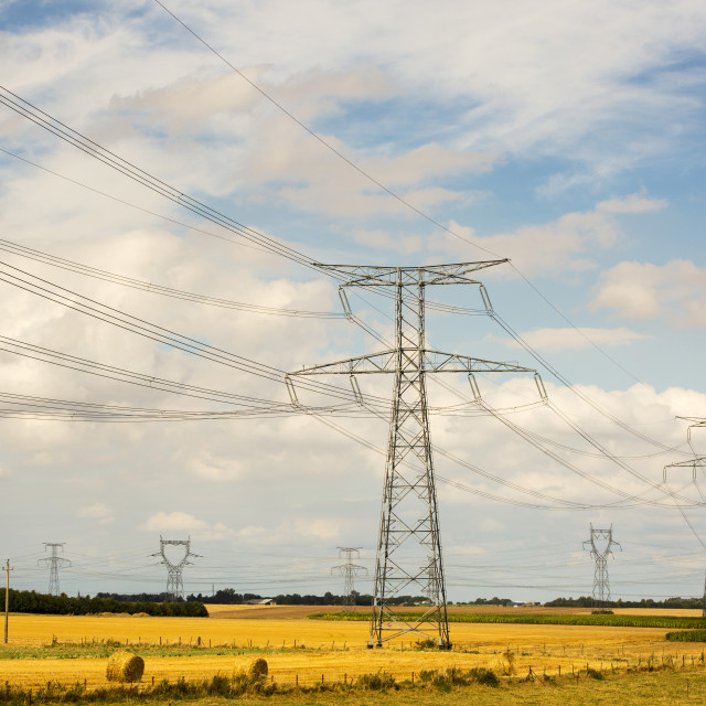 """Pylons cross the Somme Landscape in Northern France"" stock image"