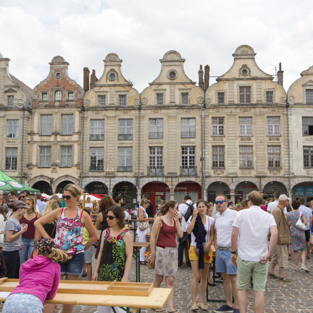 """""""A festival taking place in the town square opposite the cathedral in Arras,..."""" stock image"""