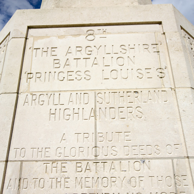 """""""A first world war memorial at Beaumont Hamel on the Somme, France."""" stock image"""
