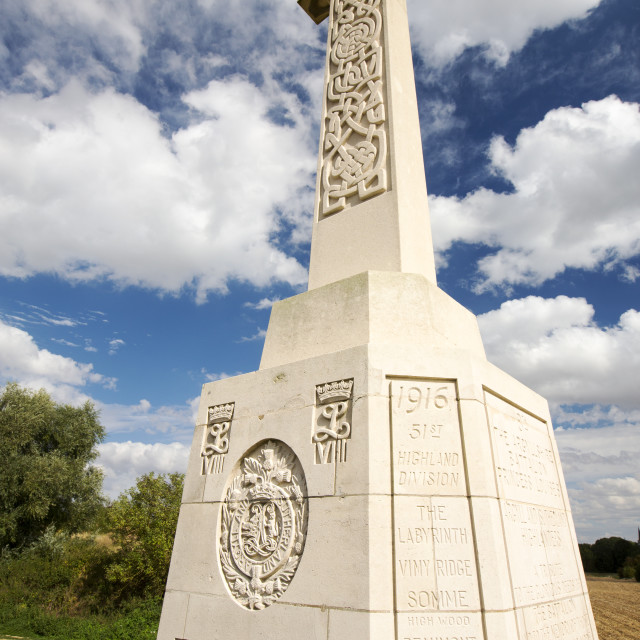 """A first world war memorial at Beaumont Hamel on the Somme, France."" stock image"
