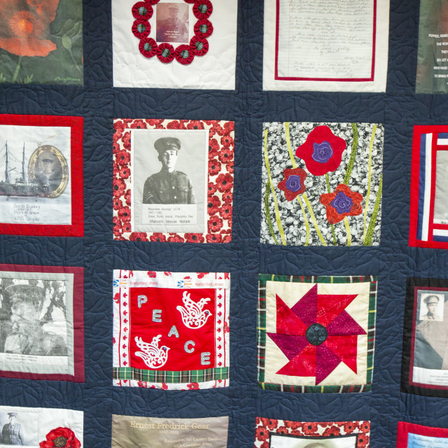 """A quilt at the visitor centre at Newfoundland Memorial Park, Beaumont Hamel,..."" stock image"