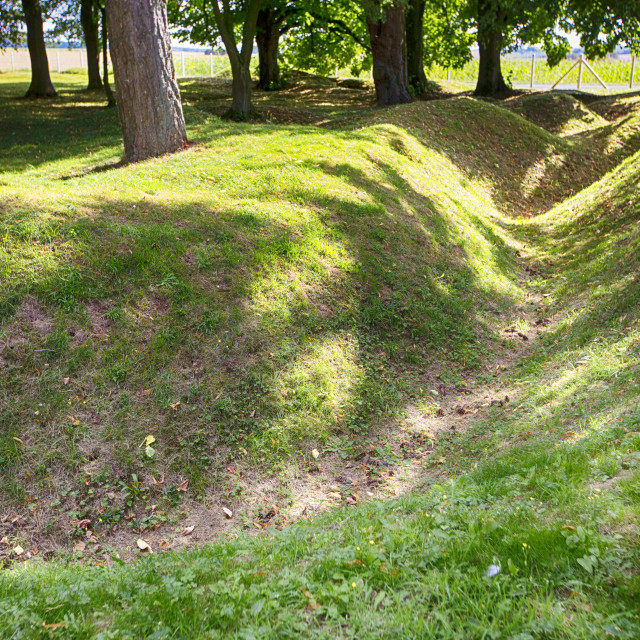 """Preserved trenches at Newfoundland Memorial Park, Beaumont Hamel,..."" stock image"