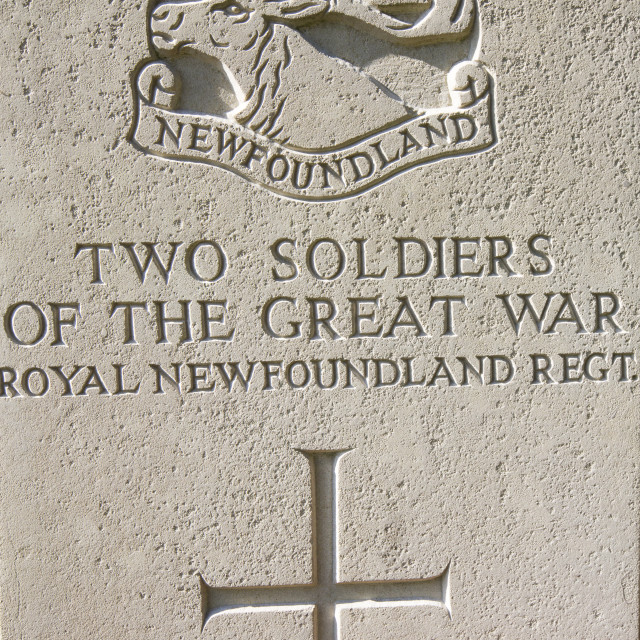 """""""A cemetery at the Newfoundland Memorial Park, Beaumont Hamel, commemorating..."""" stock image"""