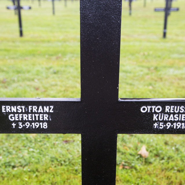 """The Fricourt German war cemetery with war dead from the Battle of the Somme..."" stock image"