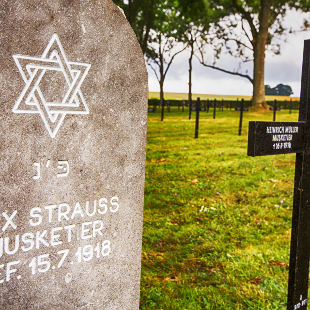 """""""The Fricourt German war cemetery with war dead from the Battle of the Somme..."""" stock image"""