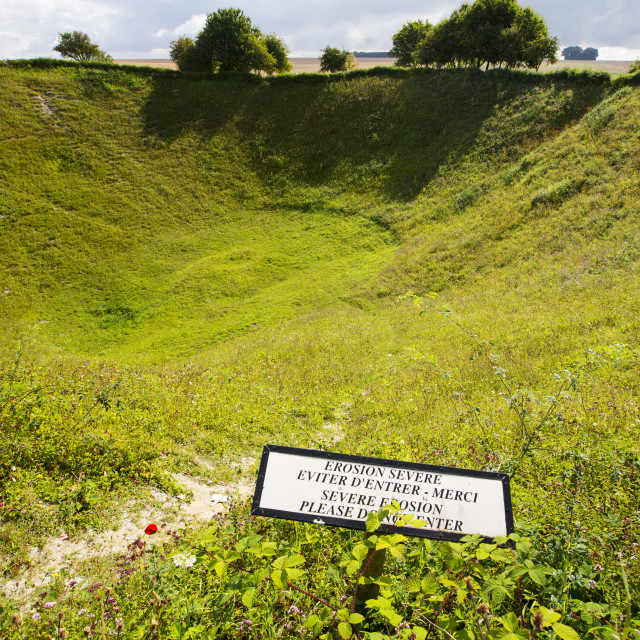 """The Lochnagar Crater from the Battle of the Somme in the First World War,..."" stock image"