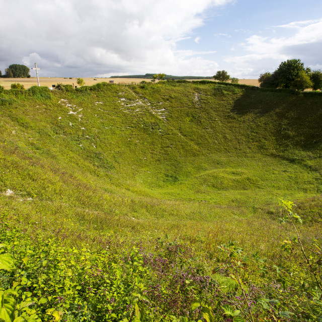 """""""The Lochnagar Crater from the Battle of the Somme in the First World War,..."""" stock image"""