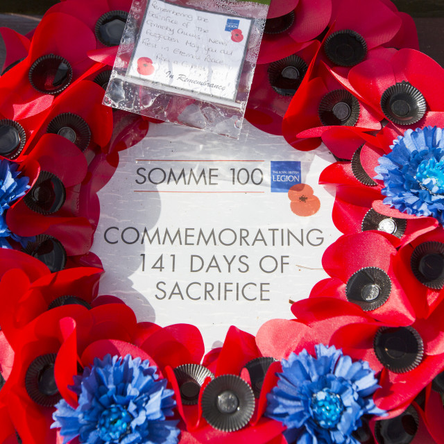 """""""A memorial wreath at the Lochnagar Crater from the Battle of the Somme in the..."""" stock image"""