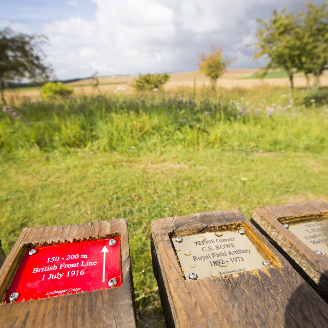 """Brass plaques at the Lochnagar Crater from the Battle of the Somme in the..."" stock image"