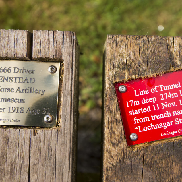 """""""Brass plaques at the Lochnagar Crater from the Battle of the Somme in the..."""" stock image"""