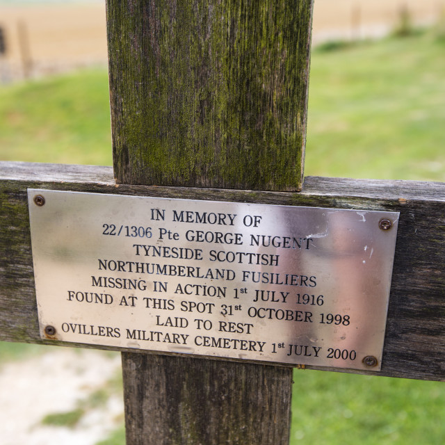 """""""A memorial croos at the Lochnagar Crater from the Battle of the Somme in the..."""" stock image"""