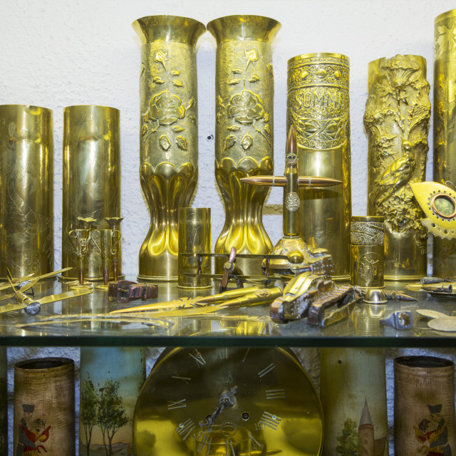 """""""Decorative brass morter shells at the underground Battle of the Somme museum..."""" stock image"""