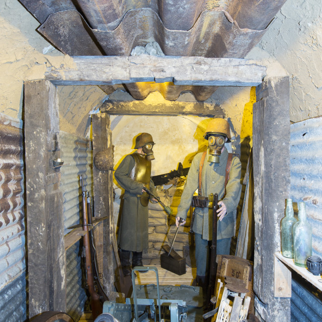 """""""British soldiers in an underground bunker at the underground Battle of the..."""" stock image"""