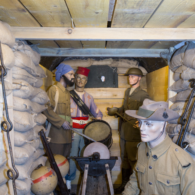 """Commonwealth soldiers in an underground bunker at the underground Battle of..."" stock image"