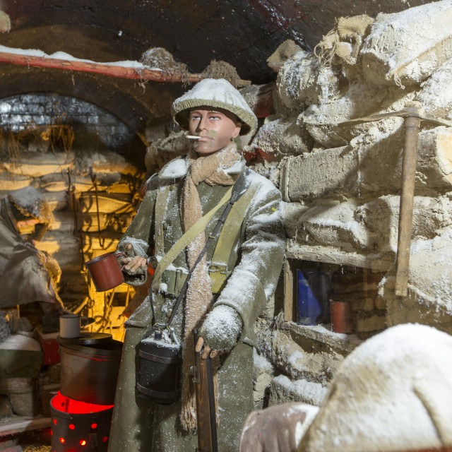 """British soldiers in an underground bunker at the underground Battle of the..."" stock image"