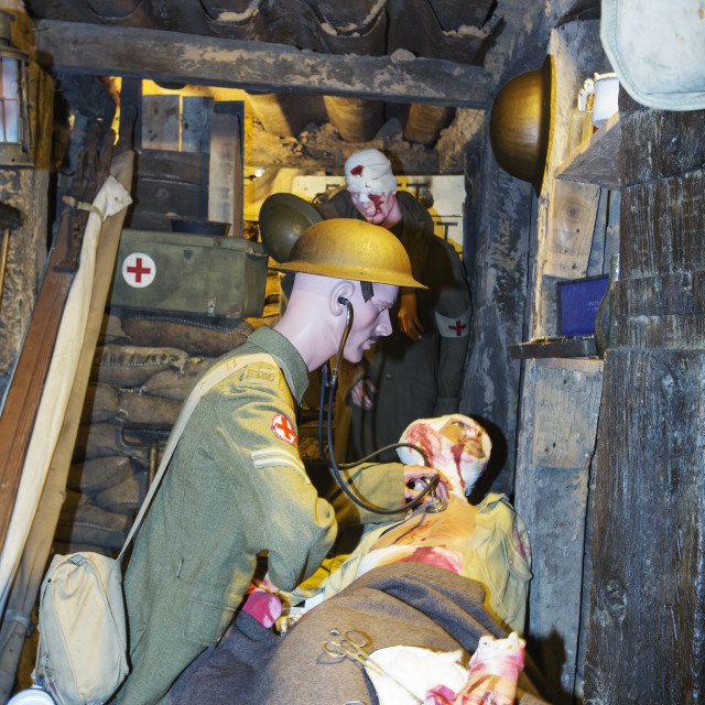 """""""British soldiers being treated by a medic in an underground bunker at the..."""" stock image"""