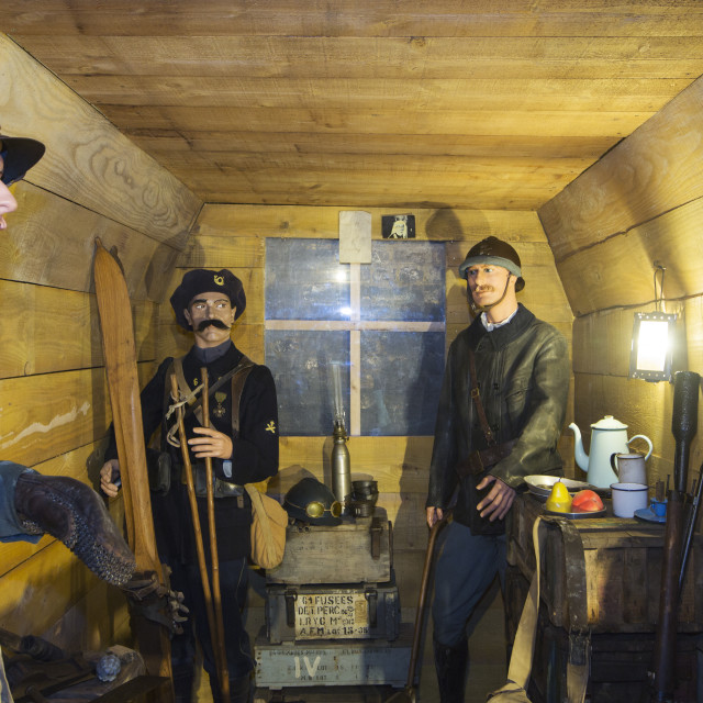 """""""French soldiers in an underground bunker at the underground Battle of the..."""" stock image"""