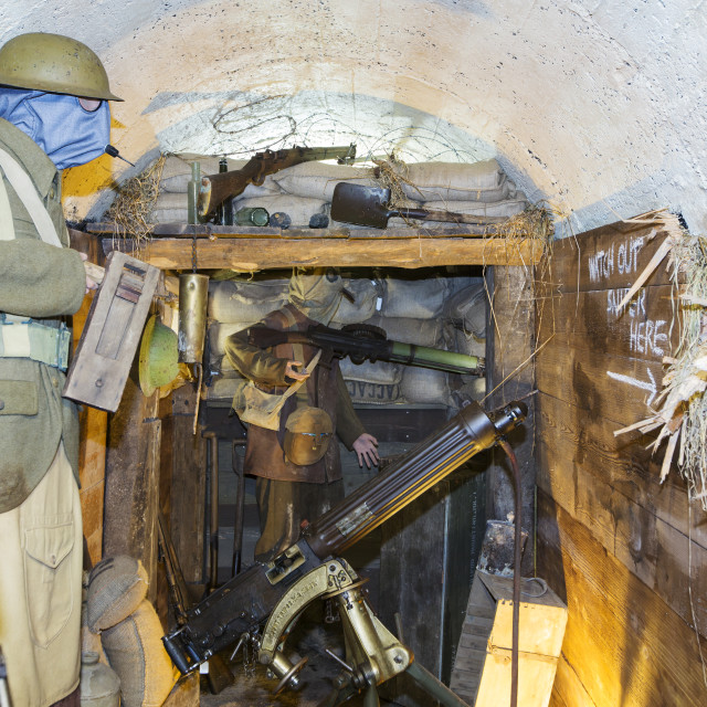 """""""British soldiers wearing gas masks in an underground bunker at the..."""" stock image"""
