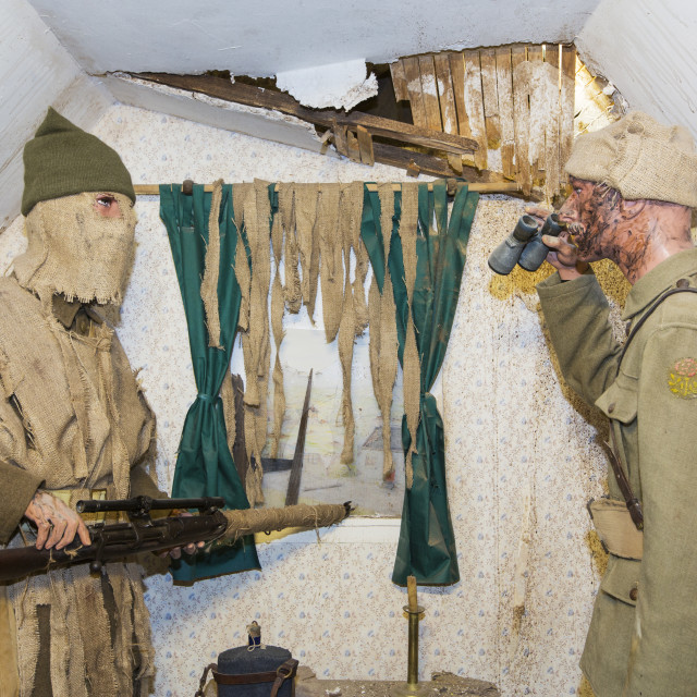 """A sniper at the underground Battle of the Somme museum in Albert, which is in..."" stock image"