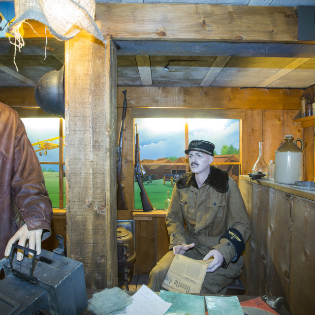 """""""German soldiers in a bunker in the underground Battle of the Somme museum in..."""" stock image"""