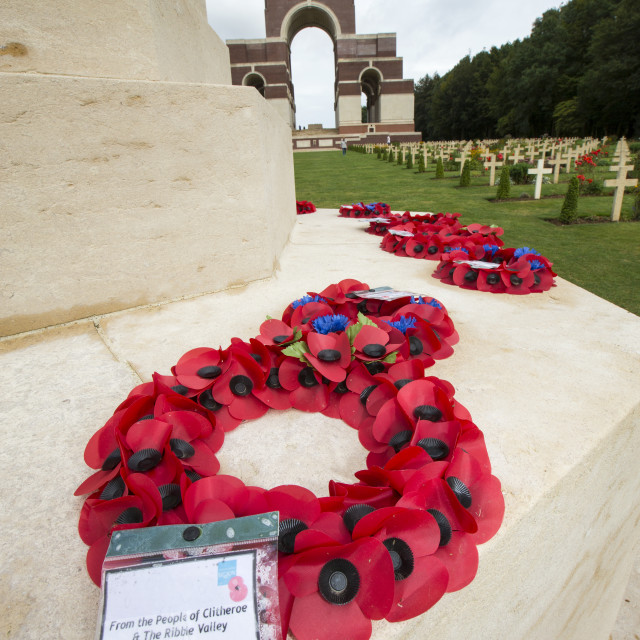 """""""The Thiepval Memorial, a massive memorial to commemorate the 72,000 missing..."""" stock image"""