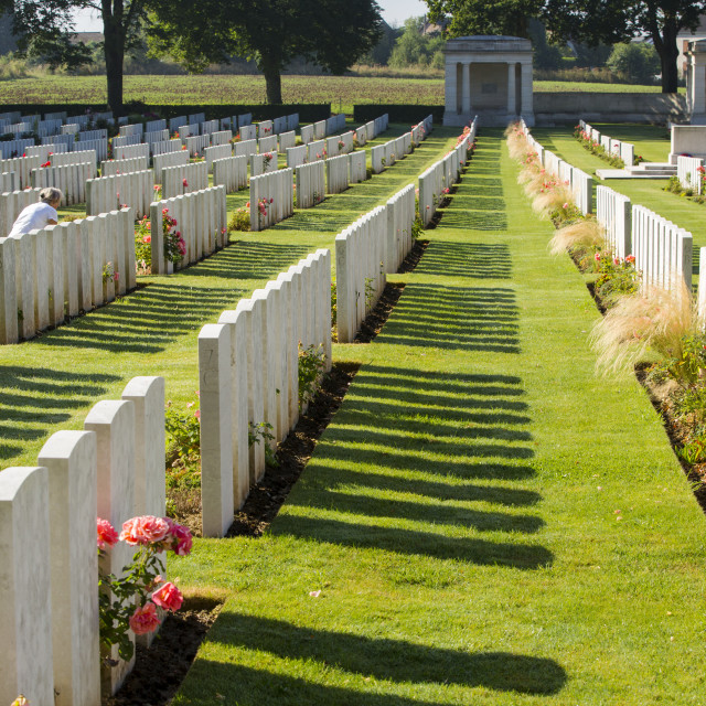 """The Delville Wood cemetery to British dead of the Battle of the somme at..."" stock image"