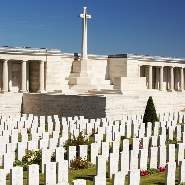 """The Poziers cemetery with British war dea from the Battle of the Somme, France."" stock image"