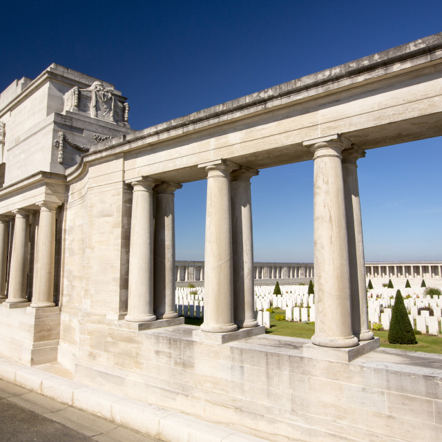 """""""The Pozieres Cemetery in with British war dead from the Battle of the Somme,..."""" stock image"""