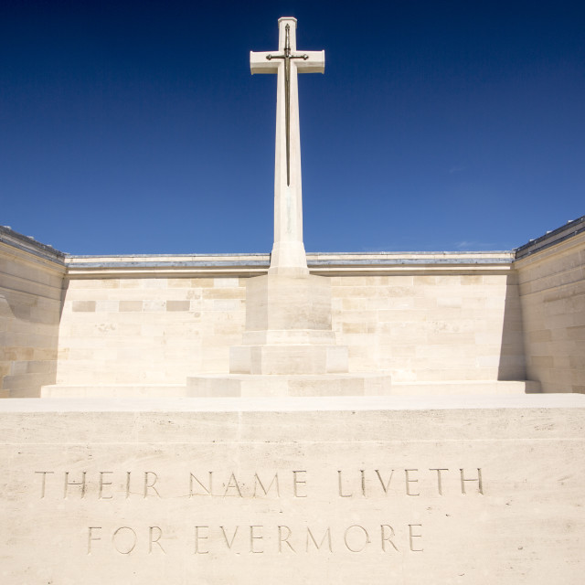 """The Pozieres Cemetery in with British war dead from the Battle of the Somme,..."" stock image"