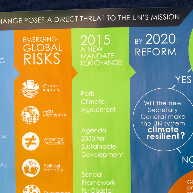 """""""A poster about the UN at a climate change conference held at Keble College,..."""" stock image"""