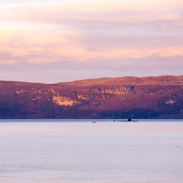 """""""A nuclear submarine in the Inner Sound between Applecross and the Isle of..."""" stock image"""