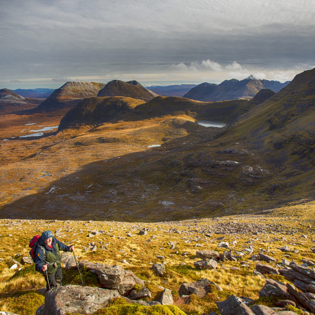 """Looking towards Beiin Eighe from Beinn Dearg in Torridon, Scotland, UK with a..."" stock image"