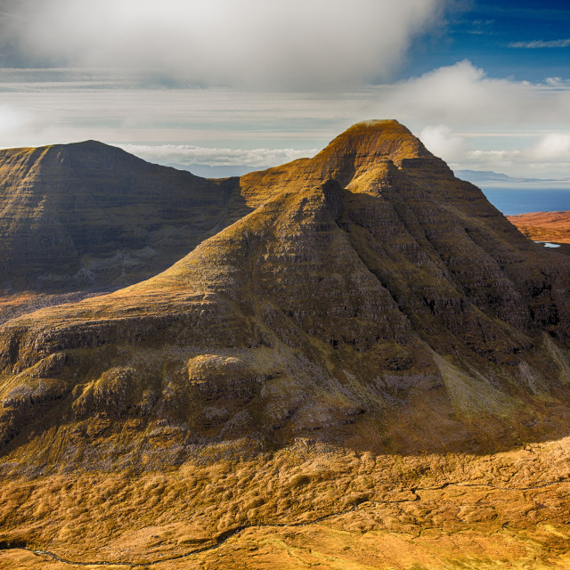 """Beinn Alligin from Beinn Dearg in Torridon, Scotland, UK."" stock image"