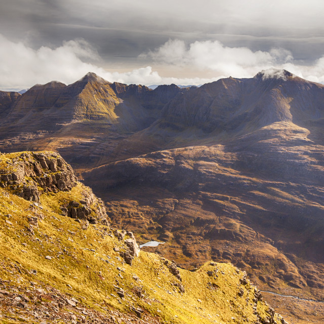 """""""Looking towards Liathach in Torridon from Beinn Dearg, Scotland, UK."""" stock image"""