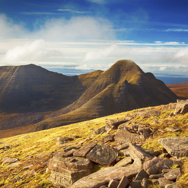 """Beinn Alligin from Beinn Dearg in Torridon, Scotland, UK."" stock image"
