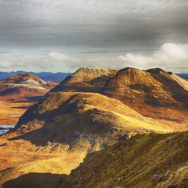 """Looking towards Beiin Eighe from Beinn Dearg in Torridon, Scotland, UK."" stock image"