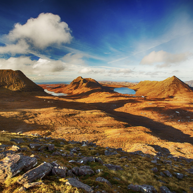 """Looking towards Beinn an Eoin and Baosbheinn from Beinn Dearg in Torridon,..."" stock image"