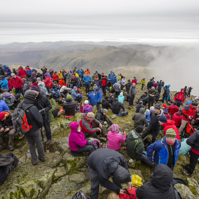 """""""The annual remembrance day gathering on the summit of Great Gable in the Lake..."""" stock image"""