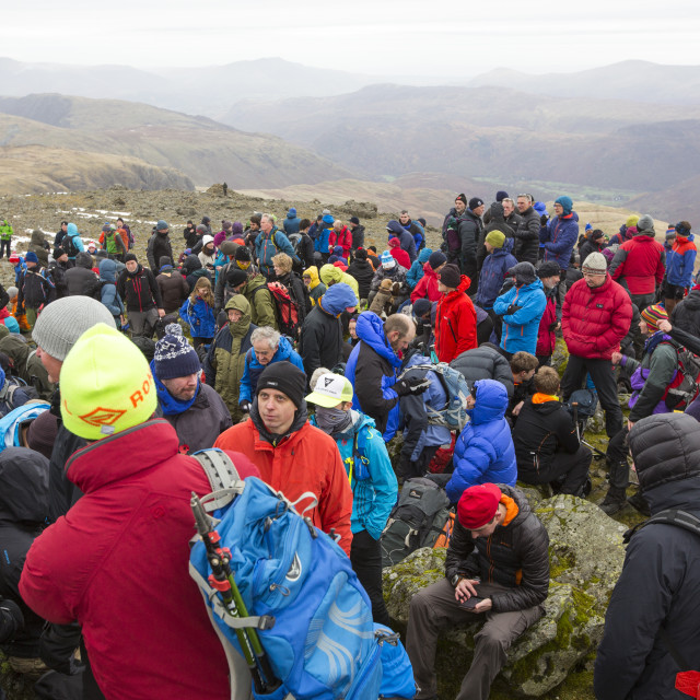 """The annual remembrance day gathering on the summit of Great Gable in the Lake..."" stock image"