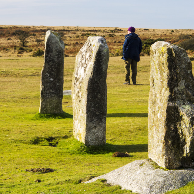 """The Hurlers stone circle on Bodmin Moor, Cornwall, UK."" stock image"