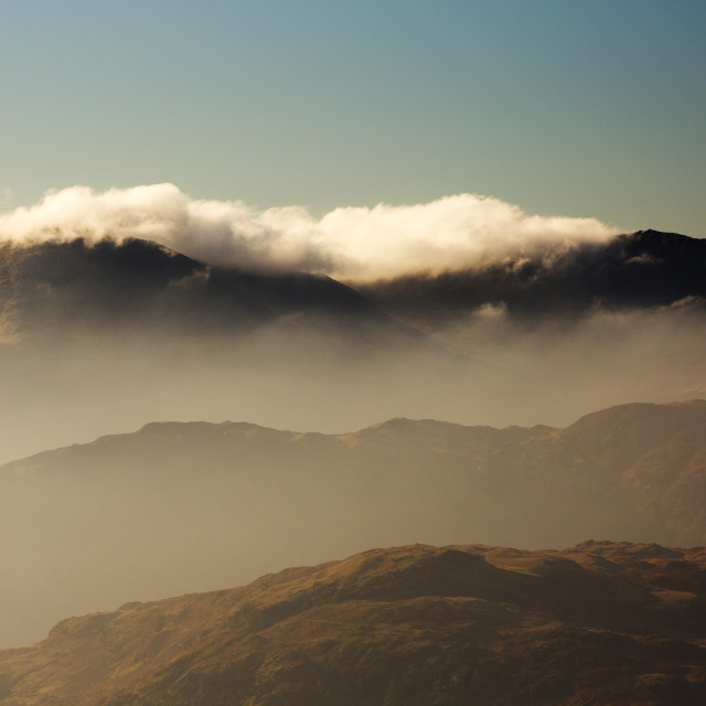 """Looking towards the Coniston fells from Stone Arthur in misty conditions,..."" stock image"
