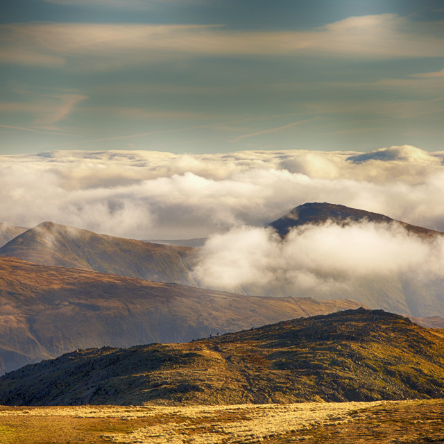 """""""Looking towards the Kentmere fells from Fairfield in misty conditions, Lake..."""" stock image"""