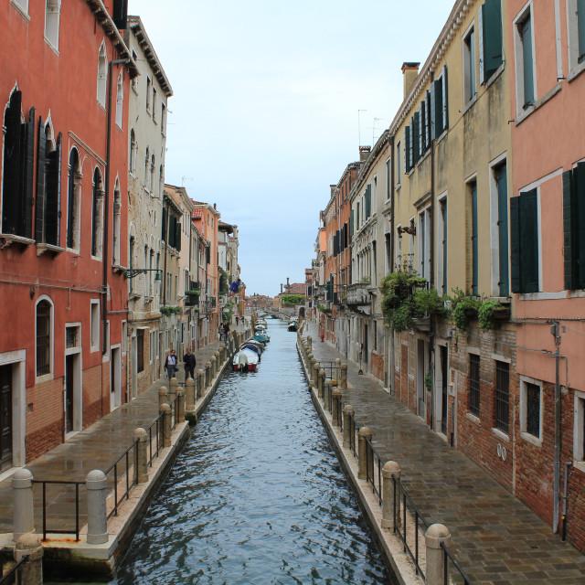 """""""Quiet Waterway in Venice"""" stock image"""