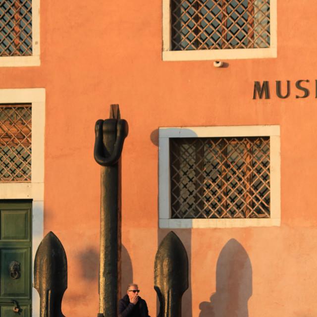 """Smoking outside the Venice Naval Museum"" stock image"