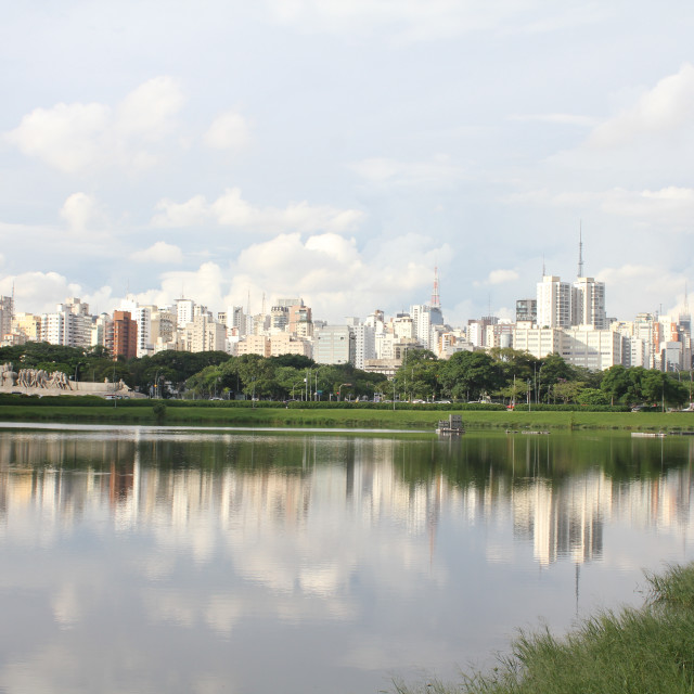 """Sao Paulo Skyline from Ibariquera Park"" stock image"